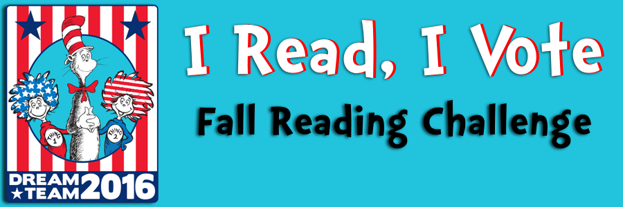 "Image of Dr. Seuss and the text, ""I Read, I Vote: Fall Reading Challenge."""