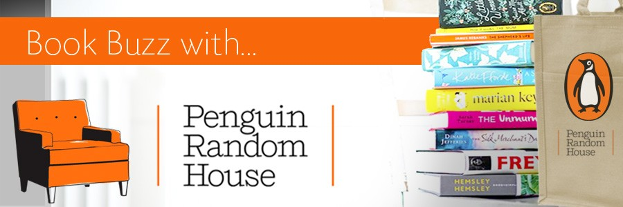 Image of books and bag; logo of Penguin Random House