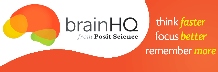BrainHQ logo: Think Faster, Focus Better, Remember More
