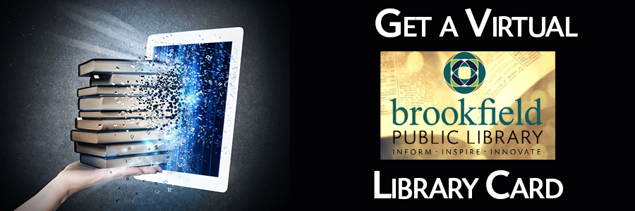 black background with book bursting out of tablet, get a library card