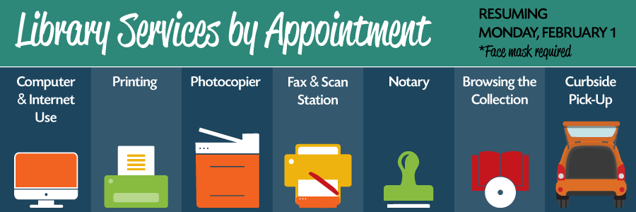 Library Services by Appointment- Printer Copier Fax Machine, notary stamp, book & Dvd