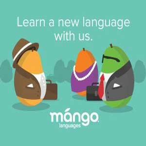 "Image of three mangos with the text, ""Learn a new language with us: Mango Languages."""