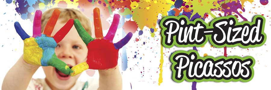 "Image of child with paint on hands with text, ""Pint-Sized Picassos"""