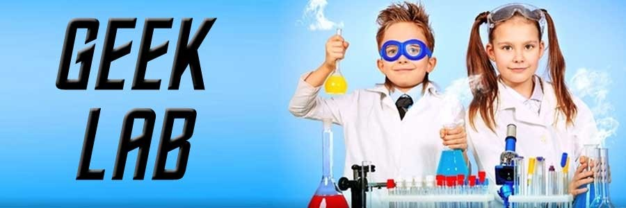 "Picture of kids dressed as scientists with ""geek lab"" text"