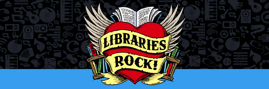Heart with wings, libraries rock text, black background