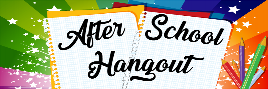 After School Hangout text against paper over rainbow burst background