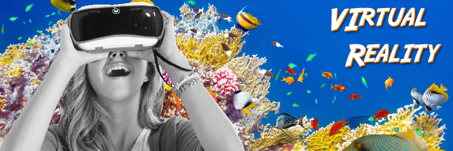 Woman with VR headset and coral reef background