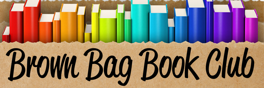Brown bag filled with colorful books
