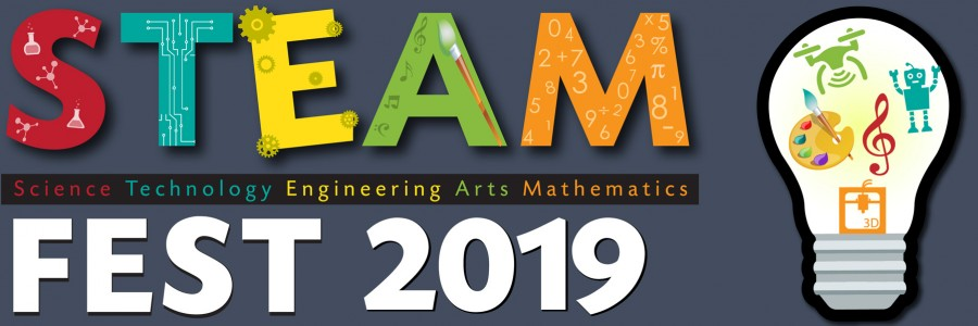 STEAM Fest 2019 text with light bulb with Science, Technology, Engineering, Art and Math icons