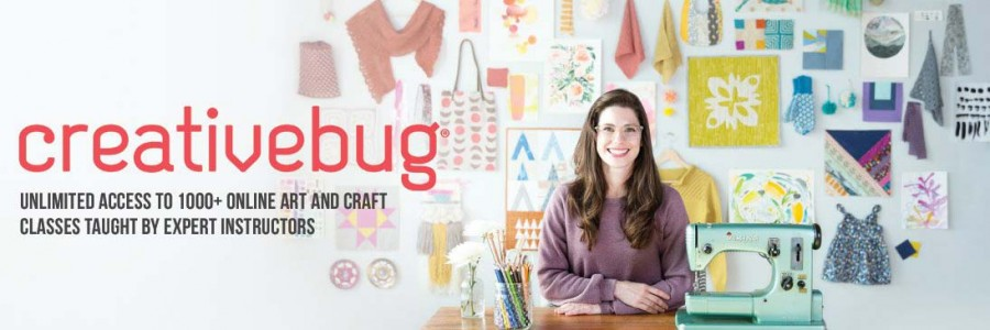 woman with colorful crafting background, creativebug