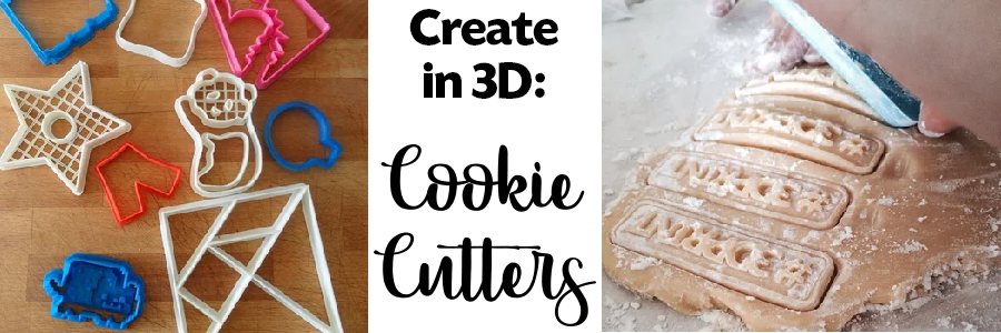 colorful plastic cookies cutters, cookie dough; Create in 3D cookie cutters