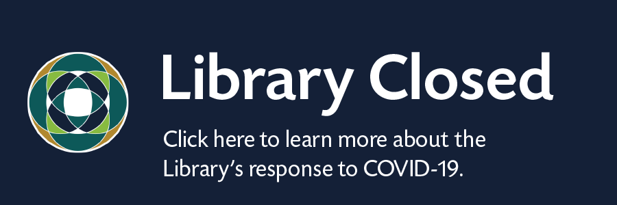 Navy blue background with library closed text