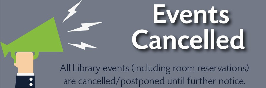 gray-blue background with green megaphone; events cancelled