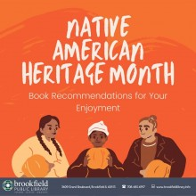 White text on an orange background reads Native American Heritage Month: Book Recommendations for Your Enjoyment. Three