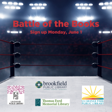 "Picture of a boxing ring with the text ""Battle of the Books"""